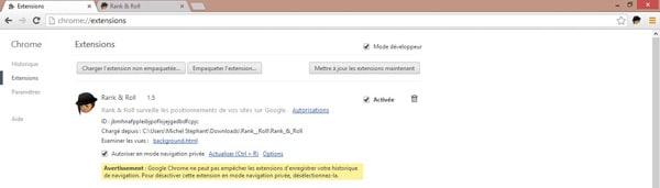 rank and roll sur google chrome