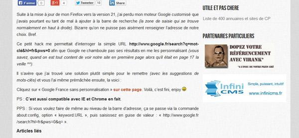 boost bookmark : google sans personnalisation des résultats