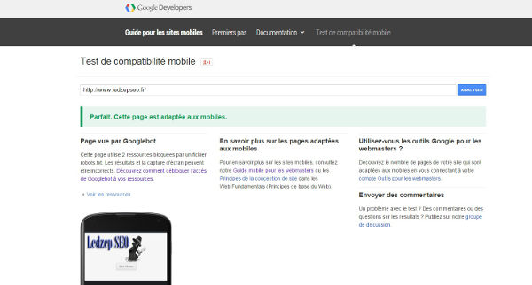 test compatibilité mobile google