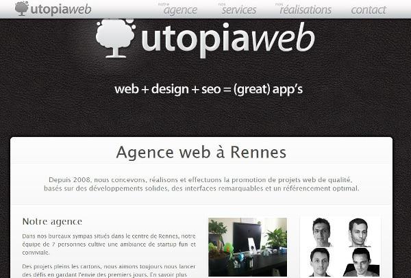 Utopia web site d'une agence web seo à Rennes