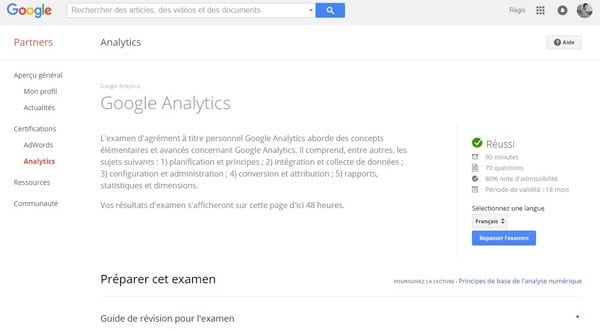 Examen certification Google Partners