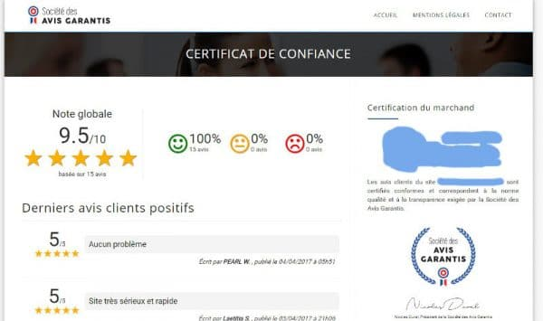 Certification des avis clients sur votre boutique prestashop
