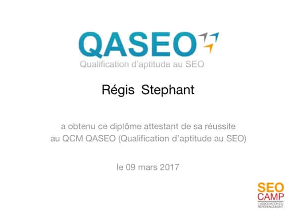 diplome QASEO certification SEO du SEO Camp