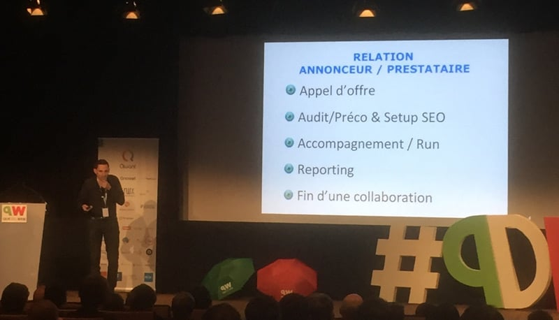 Aurélien Bardon gestion de projet SEO à Que du Web 2017