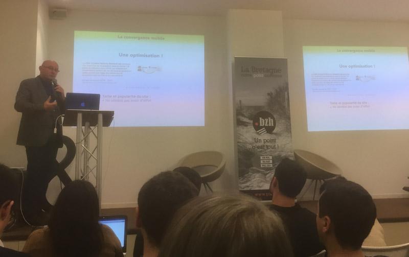 Olivier Andrieu en conférence SEO à Rennes à la Fabrique rennes digitaleo